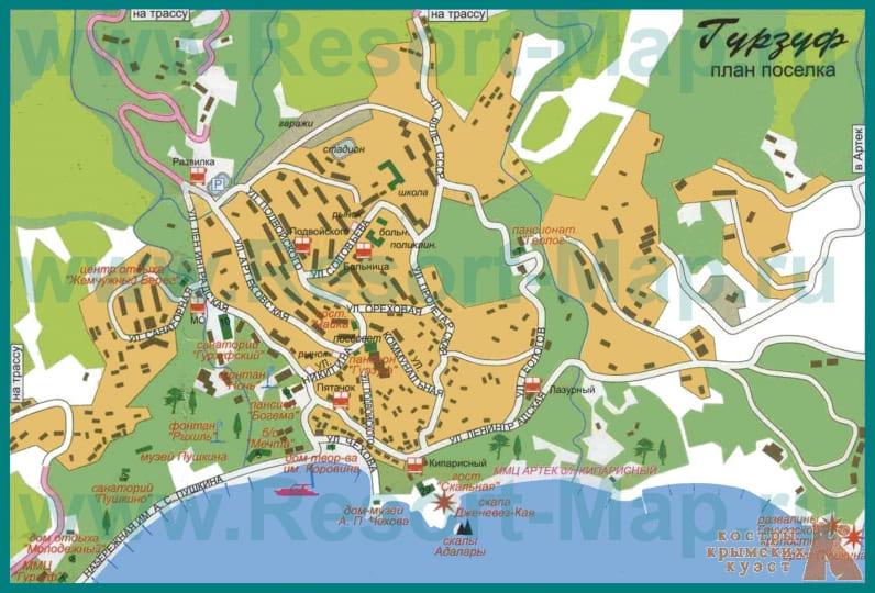 Карта Гурзуфа