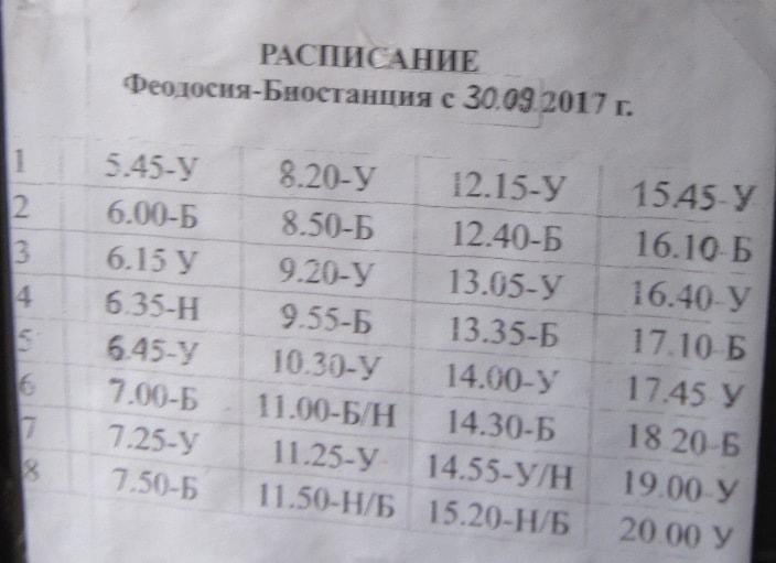 Расписание автобусов Феодосия - Урочище 2018